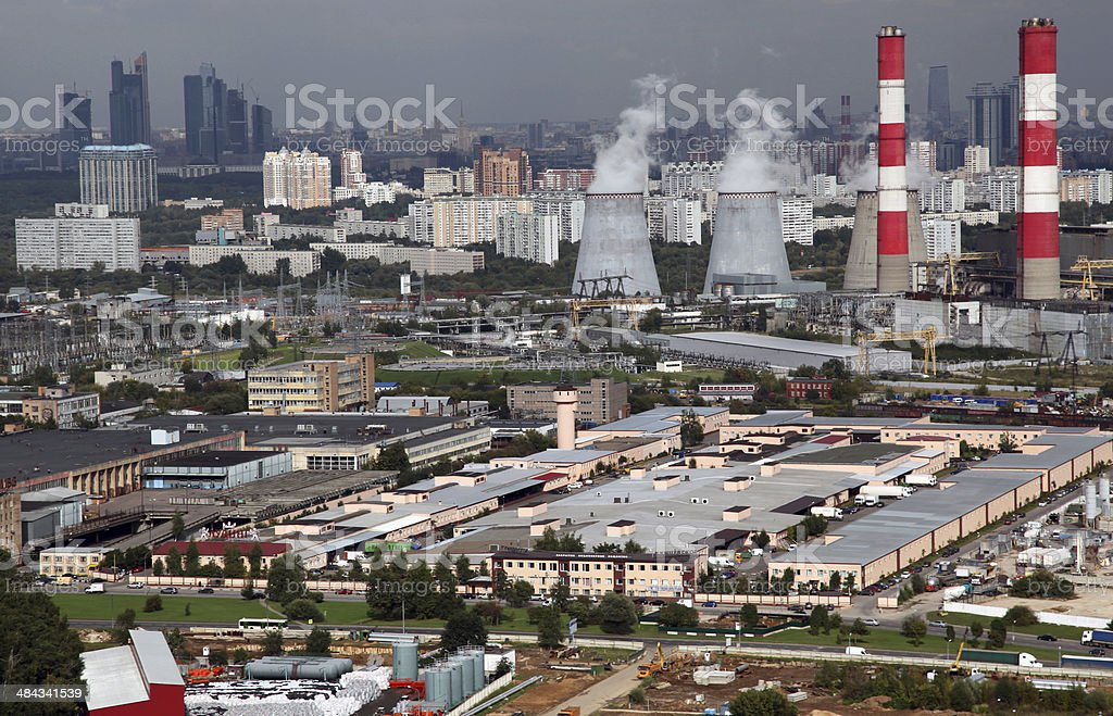 Aerial view of greater Moscow region stock photo