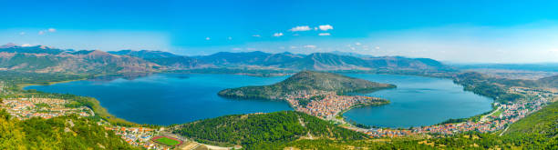 aerial view of greek town kastoria surrounded by orestiada lake - conceptual symbol stock pictures, royalty-free photos & images