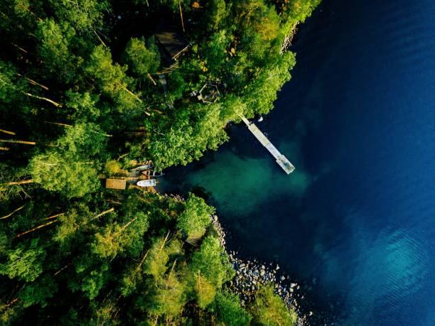 flygvy över grön skog, blå sjö och träpir med båtar i finland. - pine forest sweden bildbanksfoton och bilder