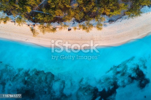 1136453253 istock photo Aerial view of green trees on the sandy beach and blue sea at sunset. Summer holiday. Indian Ocean in Zanzibar, Africa. Tropical landscape with palm trees, white sand, blue water, waves. Top view 1157841277