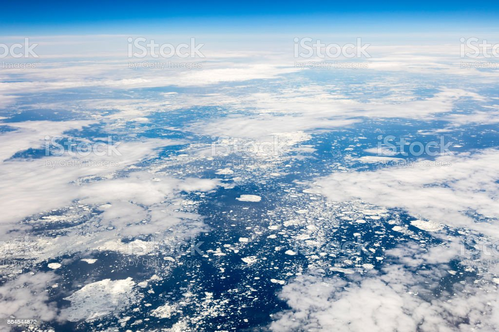 Aerial view of Greenland stock photo