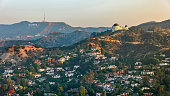 istock Aerial view of Griffith Observatory with the Hollywood Sign seen in the distance 1068309286