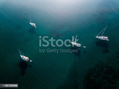 Aerial view of group of sailing boats
