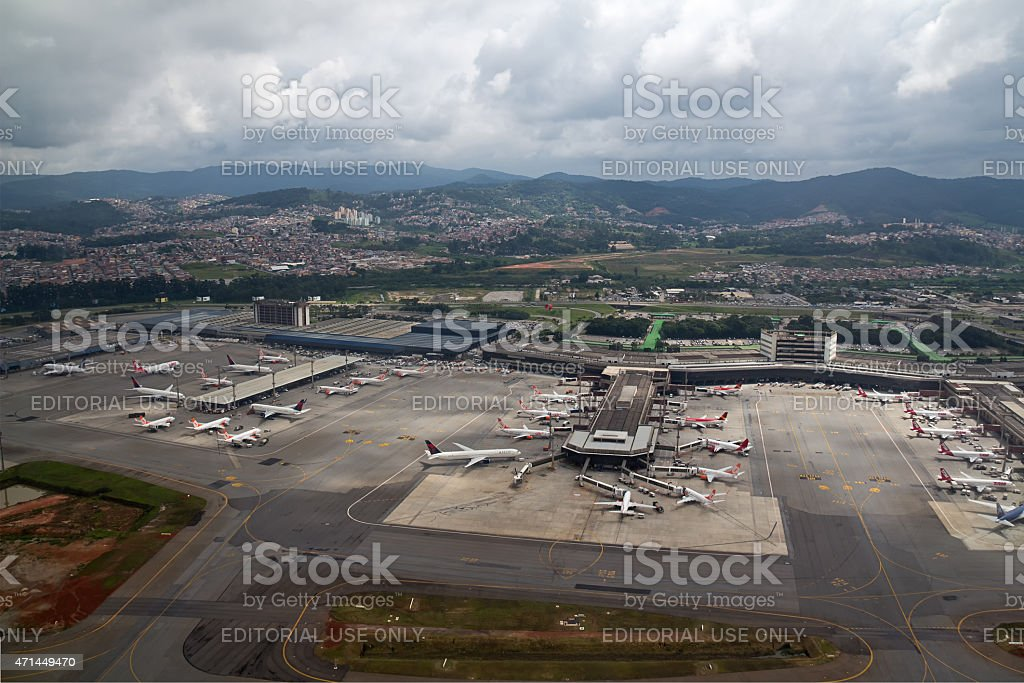 Aerial view of GRU airport stock photo