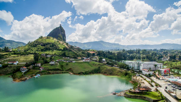 aerial view of guatape - colombia stock photos and pictures