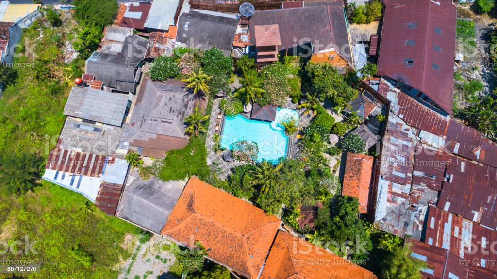 Aerial view of guest house in Jogjakarta, Indonesia. stock photo