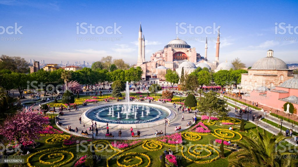 Aerial view of Hagia Sophia in Istanbul, Turkey stock photo
