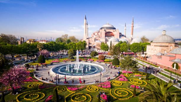 aerial view of hagia sophia in istanbul, turkey - стамбул стоковые фото и изображения
