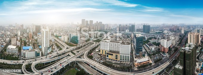 istock Aerial view of Haikou Binhai Overpass Highway 1295426436