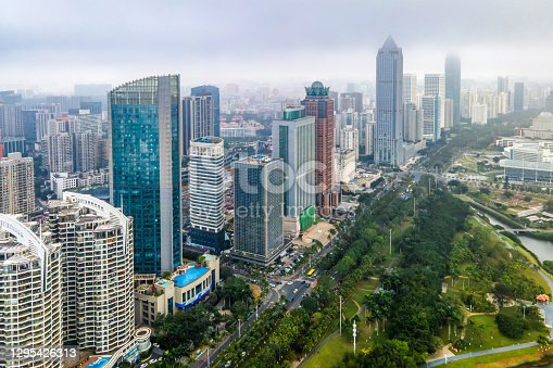 istock Aerial view of Haikou city landscape 1295426313