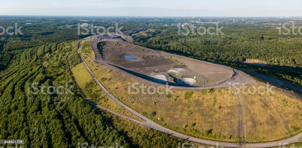 Aerial view of Halde Haniel - former largest mine dump in the Ruhr area stock photo