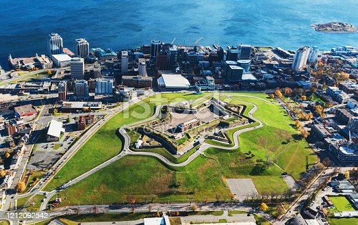 An aerial view of Citadel Hill National Park dominating the core of downtown Halifax.