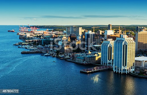 A low altitude aerial view of the Halifax skyline and waterfront in late evening.  Taken from an altitude of 500'.