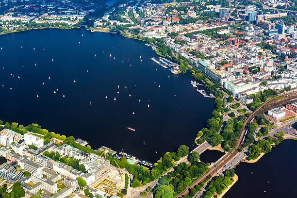 Aerial view of Hamburg - Alster lake stock photo