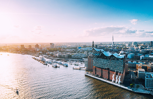 Aerial view of Hamburg Hafen City and Elbphilharmonie