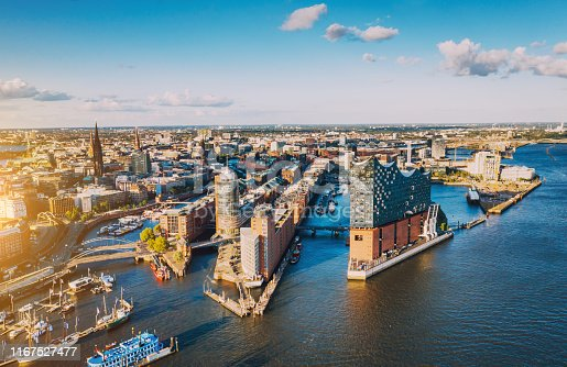 istock Aerial view of Hamburg Hafen City over blue harbour 1167527477