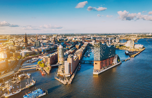 Aerial view of Hamburg Hafen City over blue harbour
