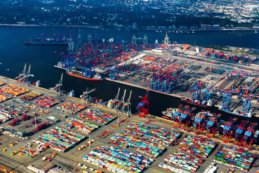 Aerial view of Hamburg Harbour, Cargo Terminal