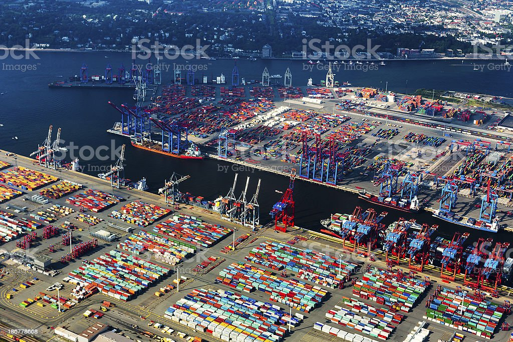 Aerial view of Hamburg Harbour, Cargo Terminal stock photo