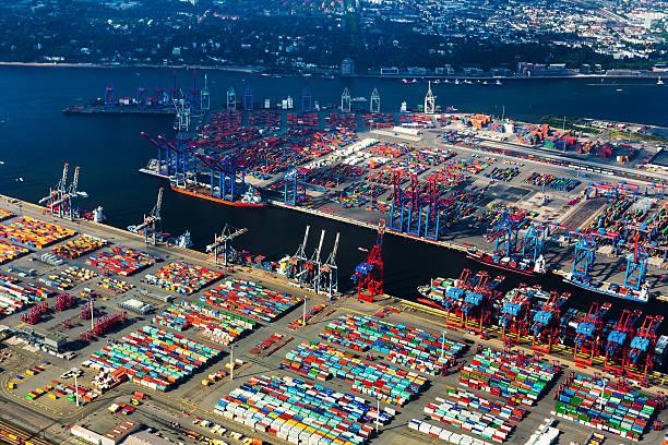 Luftaufnahme der Hamburger Hafen, Cargo-Terminal – Foto