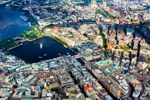 Aerial view of Hamburg - Town hall and Alster lake