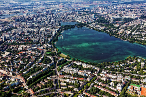 Aerial view of Hamburg with Alster lake