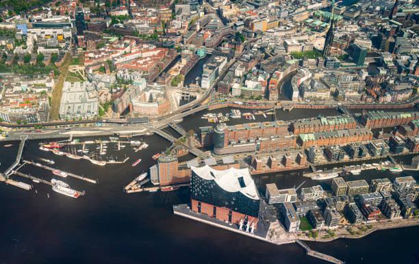 Aerial view of Hamburg-Speicherstadt-HafenCity stock photo