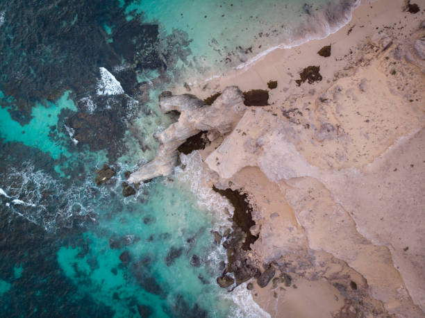 Aerial view of Hamelin Bay Beach at sunset, Margaret River, Western Australia. Aerial view of Hamelin Bay Beach at sunset, Margaret River, Western Australia. land feature stock pictures, royalty-free photos & images