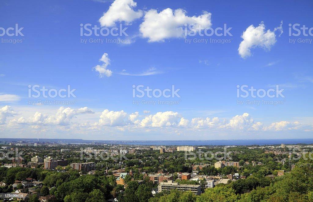 Aerial view of Hamilton and Lake Ontario landscape stock photo