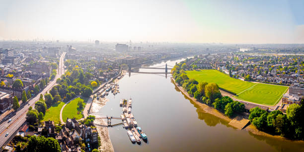 Aerial view of Hammersmith in the morning, London, UK stock photo