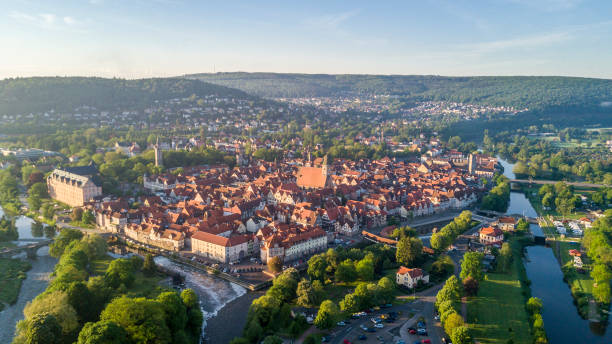 Aerial view of Hann. Munden Aerial view of Hann Munden, Lower Saxony, Germany lower saxony stock pictures, royalty-free photos & images