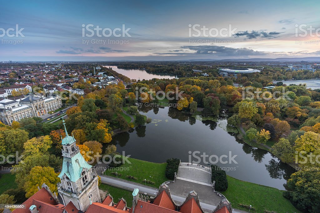 Aerial view of Hannover stock photo
