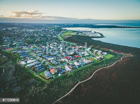 Aerial view of Hastings suburb and Westernport Marina at dusk. Melbourne, Australia