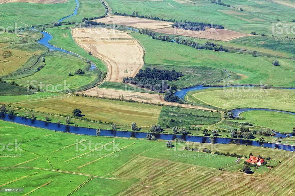 Aerial View of Havel River landscape (Germany) stock photo