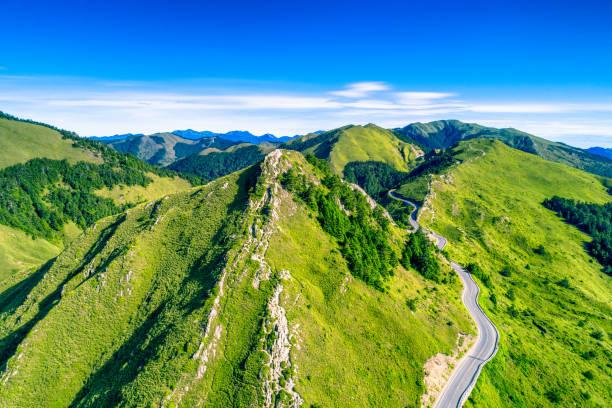 Aerial view of Hehuanshan and Qilai Mountain on the Trail Entrance of Shihmen Mountain, Taroko National Park, Taiwan stock photo