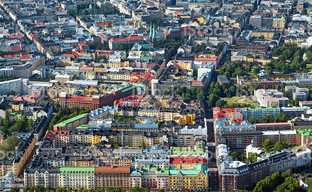 Aerial view of Helsinki capitol of Finland stock photo