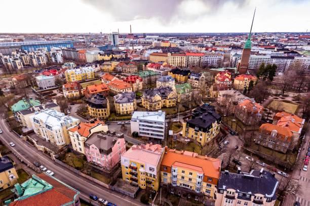 flygfoto över helsingfors stads-drone - drone helsinki bildbanksfoton och bilder