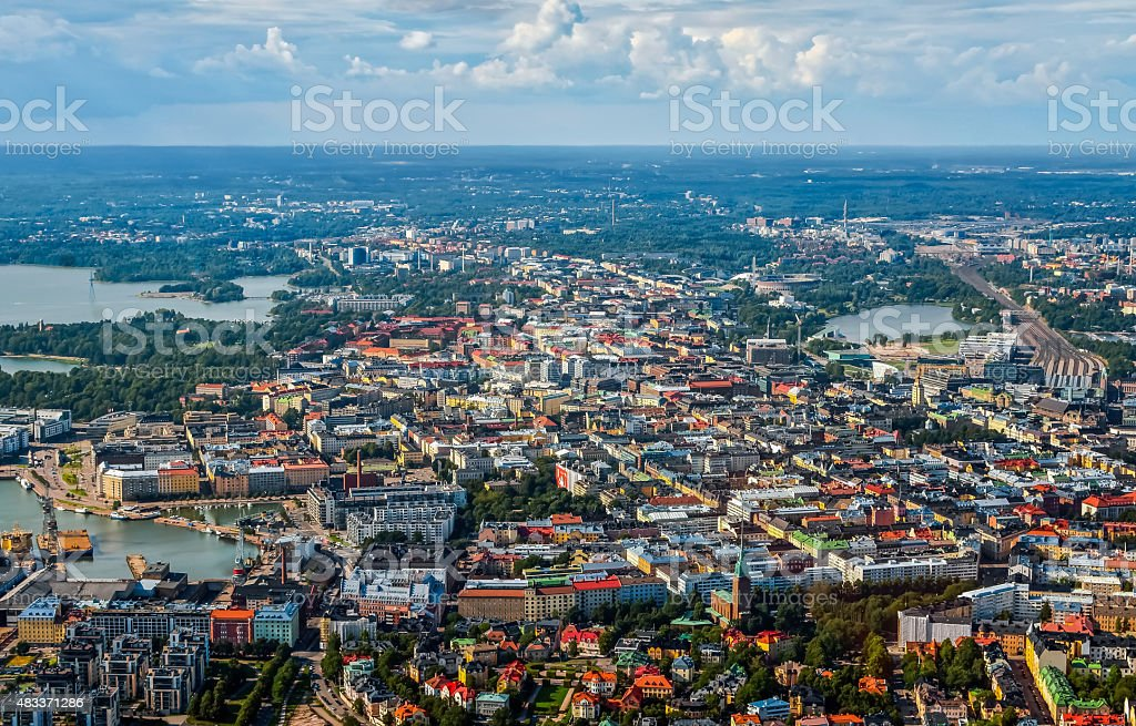 Aerial view of Helsinki city stock photo