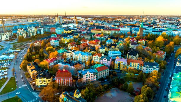 flygfoto av helsingfors stad. sky och färgglada byggnader. - drone helsinki bildbanksfoton och bilder