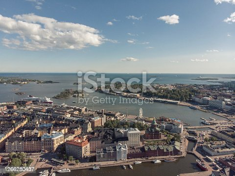 Aerial view of Helsinki Harbor and Katajanokka during a partly cloudy summer day