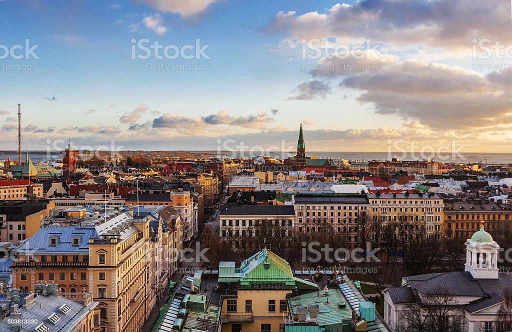 Aerial view of Helsinki stock photo