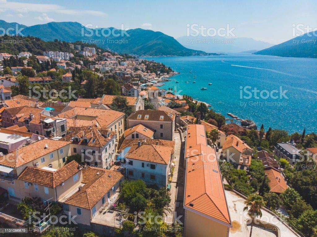 aerial view of herceg novi city in montenegro stock photo
