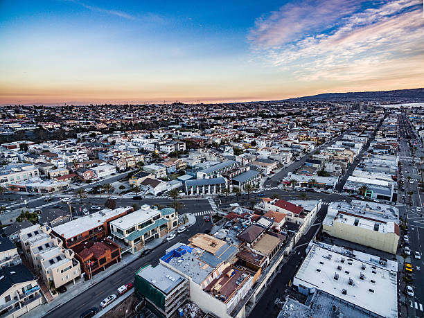 Aerial View of Hermosa Beach Downtown stock photo