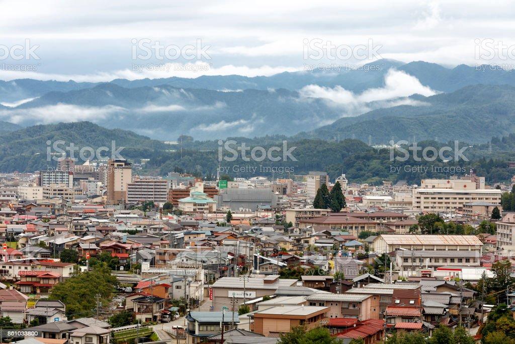 Aerial View of Hida-Takayama, Japan stock photo