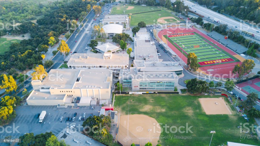 Aerial View of High School stock photo