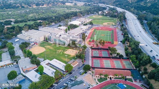 istock Aerial View of High School 679154426