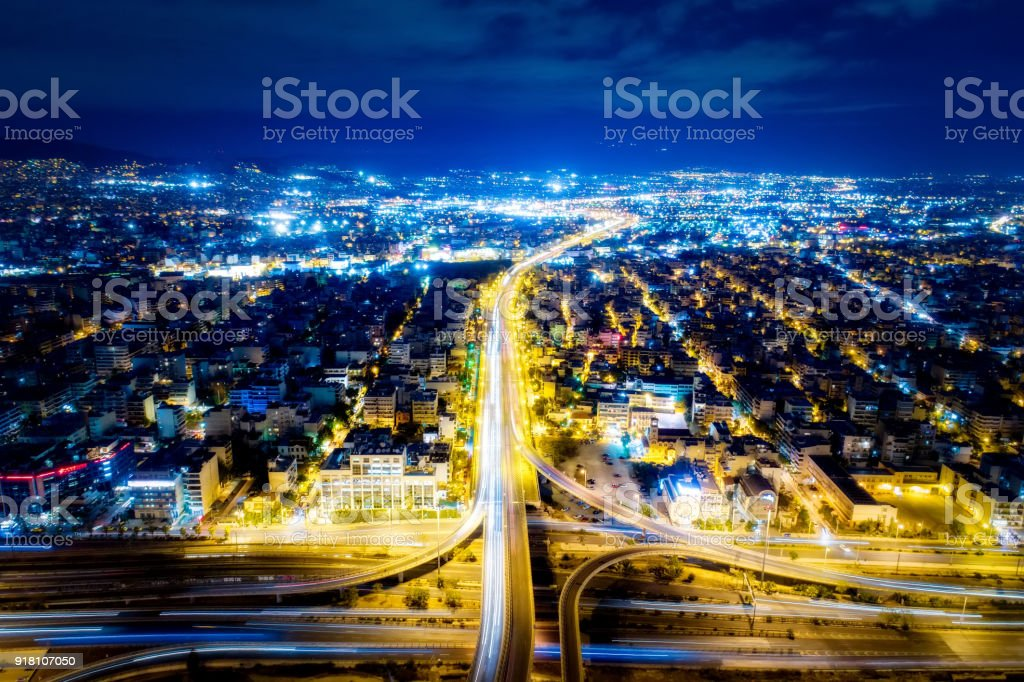 Aerial view of high speed road in the of Athens city, Greece stock photo
