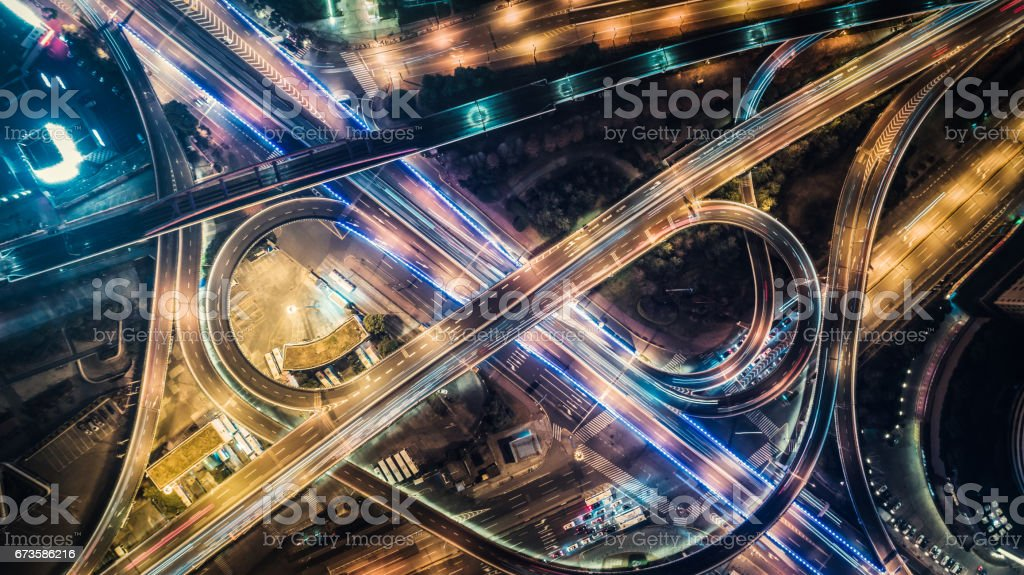 aerial view of highway at night stock photo