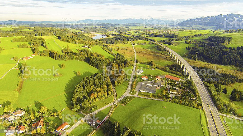 aerial view of highway bridge royalty-free stock photo
