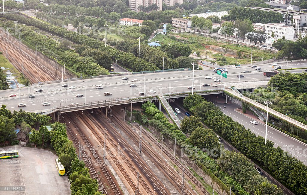 Aerial View of Highway in Guangzhou, China stock photo